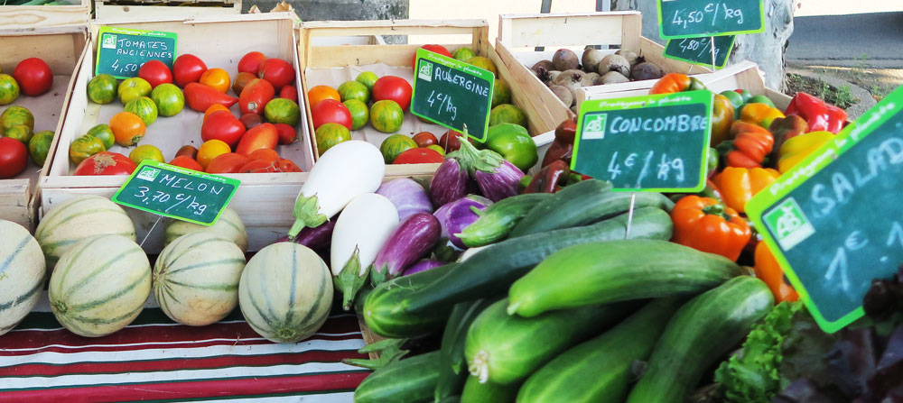 french market stall, colourful fruit and vegetables