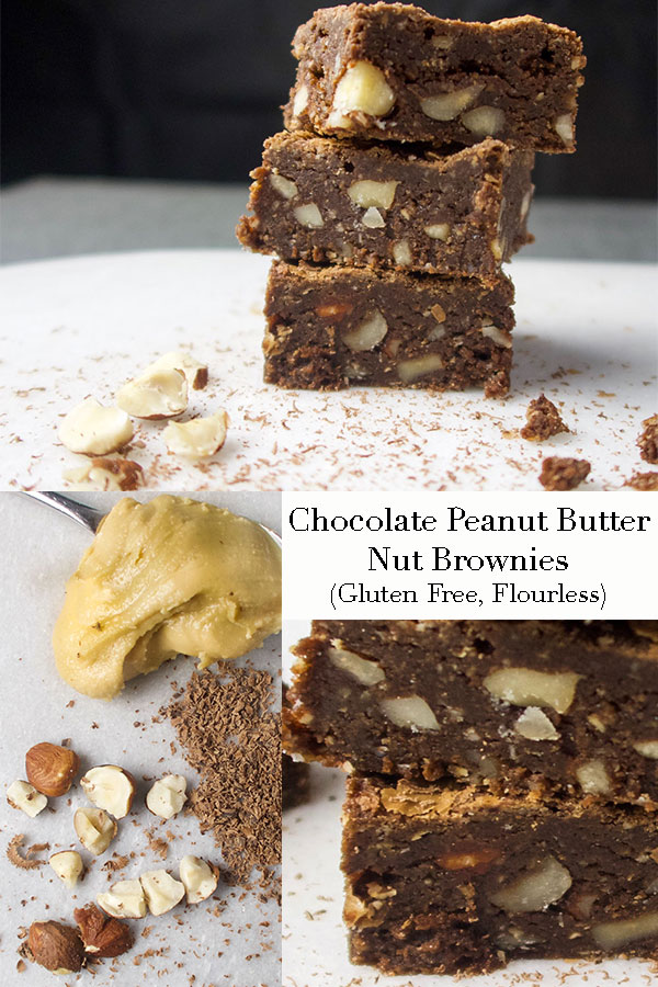 Chocolate Peanut Butter Nut Brownies (Gluten free, Flourless). Deliciously chewy homemade brownies. This easy to follow recipe makes the best nutty brownies.