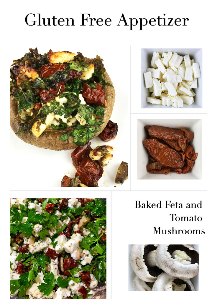 Gluten Free Appetizer, delicious baked feta and tomato mushrooms with healthy herbs