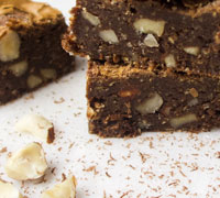 Chocolate Peanut Butter Nut Brownies (Gluten free, Flourless). Deliciously chewy homemade brownies. This easy to follow recipe makes the best nutty brownies